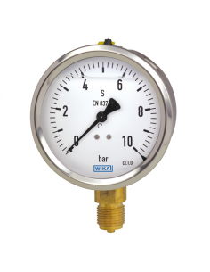 "Manometer d100, bottom conn. G 1/2"", glycerine filled"