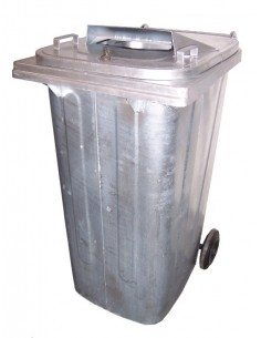 120 ltr metal fireproof container with wheels, with cert.